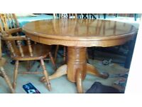 Round dining table, solid oak, carved edge, lion shape leg, diameter 120cm, adjust screw