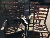 Antique solid oak ladder back chairs