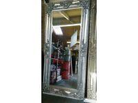 Very large platinum silver Ornate mirror !! New