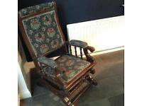 Two antique Edwardian mahogany American rocking chairs
