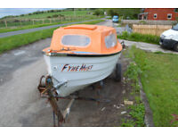 glassfibre fishing boat 14 feet with trail;er