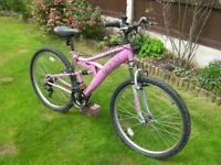 "Ladies Front and Rear suspension Mountain bike, 26"" Alloy wheels 16"" lightweight frame, 18 Gears"