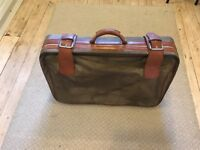 Large Fabric Brown Old Fashioned Suitcase with 2 wheels