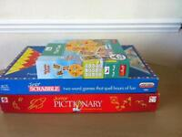Junior scrabble and pictionary plus tell the time game