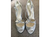 Faith size 5 silver diamanté prom/wedding heels