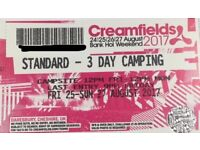 3 DAY CREAMFIELDS STANDARD CAMPING TICKET!!!!