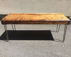 Rustic/Vintage Style Media Stand (/Coffee Table) on Hairpin Legs