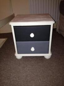 Shabby chic grey bedside drawers