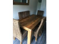 Solid Mango Table & 6 Grass Highback Chairs (nearly new)