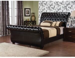 Tufted Queen Sleigh Bed - Mint Condition