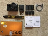 Nikon D500 DSLR, Immaculate condition with 3 batteries and 2 SD cards.