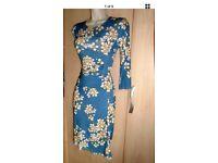 Womens dress, Beau & Oli size uk 10 blue with flowers