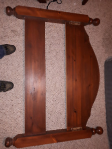 Wooden bed frame and wood rails