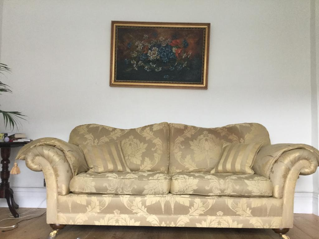Beautiful Oak Frame Sofa In Gold Silk Brocade