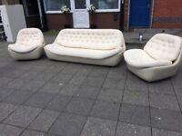 WHITE LEATHER TUB SET RETRO 3 seater + 2 Armchairs