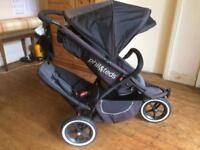Phil&Teds 3-Wheel All-Terrain Inline Single/Double Tandem Jogger Pushchair Stroller Buggy Pram +