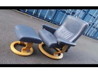 Ekornes Stressless Blue Leather Recliner Chair And Footstool ,Possible Delivery