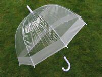 "NEW Ladies 23"" Dome Brolly Umbrella White Border Design & White Hook Handle"
