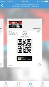 General admission floor ticket to Rancid/Dropkick Murphy's
