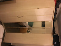 Nolte Mobel corner unit wardrobe with mirrored folding doors & 2 attached side cupboards
