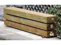 9 new large wooden sleepers for sale. Ideal for raised beds and boarders.