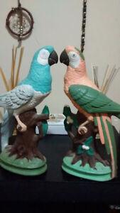 2 parrots on a stump