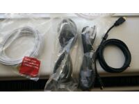 PC VGA cable+HDMI cable+Ethernet-internet cable+Power lead (kettle)cable-new