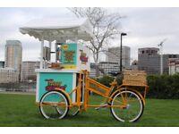 ice cream/Churro catering bike for corporate events, weddings, etc