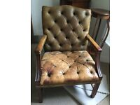 Large brown leather chair