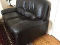Dark leather sofa, 2 seater, ns/pet/child-free home