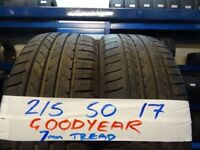 MATCHING SET 215 50 17 GOODYEARS 7MM TREAD £35 EACH SUP & FITD £120 SET OF 4 (LOADS MORE AVAIL)