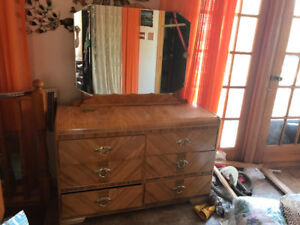 Antique Vanity with Mirror and 2 Dressers