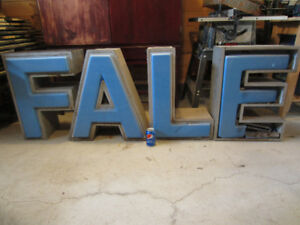 Vintage LARGE Neon Sign Letters F, A, L and E