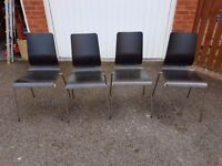 4 Black/Brown Wood & Chrome Chairs FREE DELIVERY 533