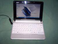 White Acer Aspire One ZG5 160GB HDD 1.5GB RAM Webcam Wifi Win 10