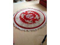 Red and cream Persian style circular rug 1.8 metres diameter