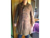 Gents genuine suede and sheepskin full length coat L/XL