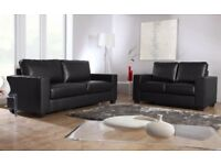LAST FEW SETS LEATHER SOFA SET 3+2 AS IN PIC black or brown BRAND NEW
