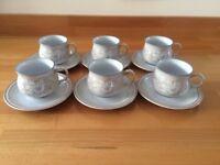 Denby Tasmin set of 6 Tea Cups and Saucers