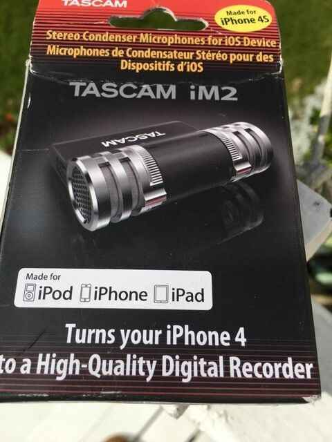 Tascam iM2 high quality stereo mic for ios upt iPhone 4 and earlier iPods and iPadsin Hove, East SussexGumtree - Unused high quality Tascam stereo mikes. Great for recording live music up to 135db. Original price around £35, so £15 collected from Hove. Works on iPhones up to 4S and some other older iPods and iPads not iPhone 5 and above with lightening...