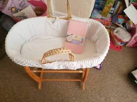 Moses basket with hood never been fitted
