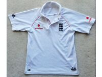 """LARGE BOYS ENGLAND ADIDAS OFFICIAL CRICKET SHIRT WHITES TOP JERSEY AGE 11-14 VGC APPROX 34"""" CHEST"""