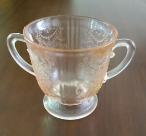 Rose Glass Sugar Bowl