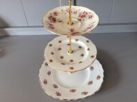 Pink Floral Mismatched Bone China 3 Tier Stand.