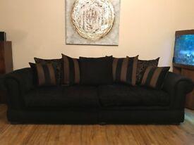 Black and Bronze Fabric 4 + 2 Seater Sofa