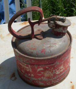 antique red safety gas container cast iron handle