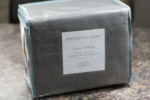 Distinctly Home 4 Piece Queen Grey Flannel Sheet Set