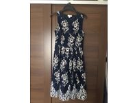 Monsoon navy and white floral skater style midi dress. Size 10