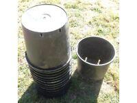 15 Large Black Plastic Plant Pots 30 x 30 18.5 LTR