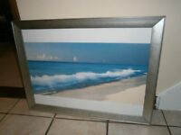 BREAKING WAVES CANCUN MEXICO FRAMED POSTER CHUNKY SILVER FRAME